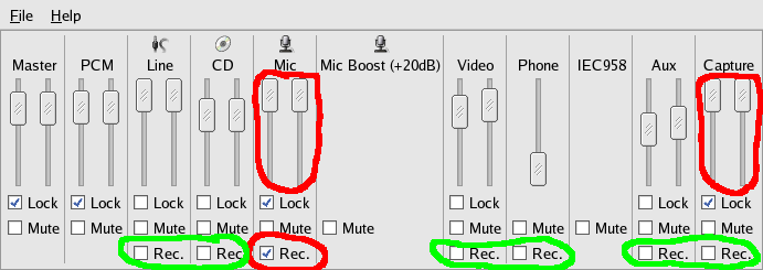 How to configure the Mixer/VolumeControl for recording